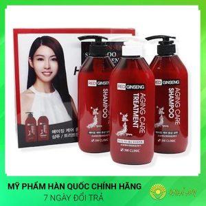 Bộ dầu gội & dầu xả chiết xuất nhân sâm đỏ Red ginseng shampoo Hàn Quốc Chính Hãng