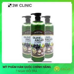 Dầu gội Olive & Argan 2 trong 1 3W CLINIC Olive & Argan 2IN1 Shampoo Hàn Quốc Chính Hãng