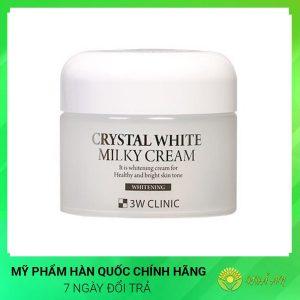 Kem dưỡng trắng da 3W Clinic Crystal White Milky Cream Hàn Quốc Chính Hãng