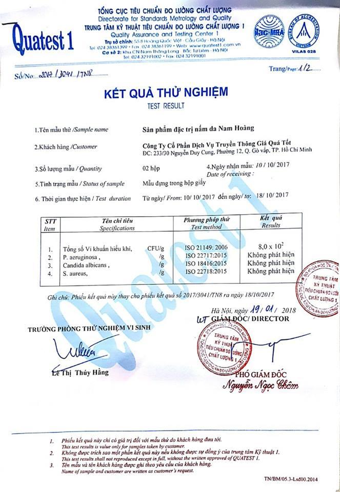 chứng nhận thuốc trị nấm da Đông Y Nam Hoàng